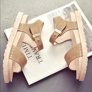 Light Brown & Tan Ankle-Strap Sandal